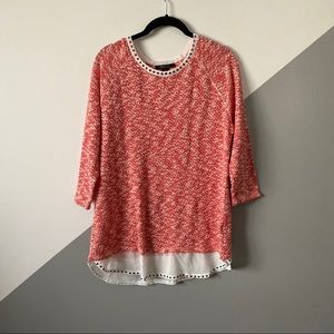 Marled Knit Sweater Chiffon Shirt Tail Hem Studded